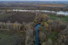 Vista previa al comienzo de las obras - desembocadura del río de Lamala y ubicación del humedal