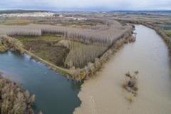 Confluencia de los ríos Ebro (izquierda) y Aragón (derecha) durante la crecida del 13 de diciembre de 2019