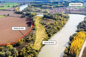El rebaje de una mota y el establecimiento de un cauce de alivio han mitigado el riesgo de Cabañas de Ebro