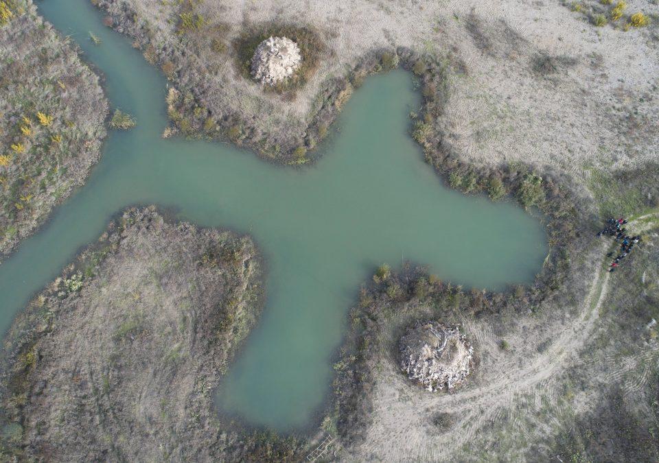 Vista aérea del humedal L1.