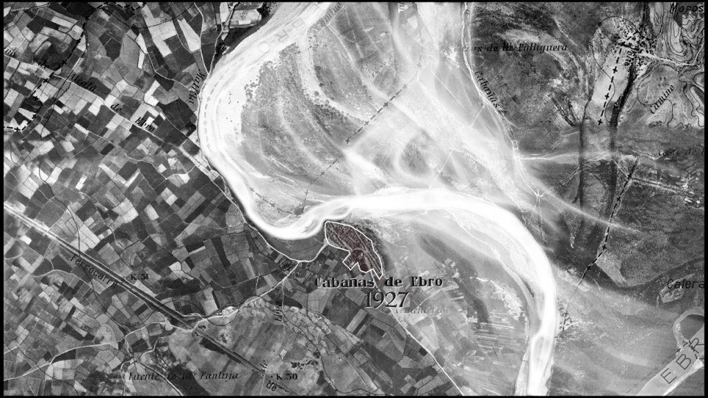 Figura 1. Recreación de una avenida del río Ebro en Cabañas de Ebro sobre la fotografía aérea de 1927 (elaboración propia).