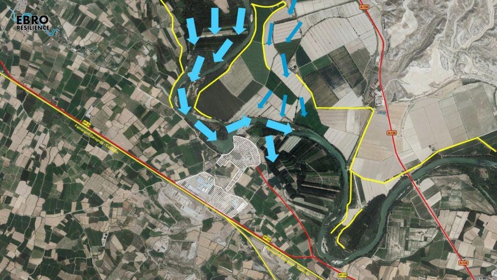 Figura 2. Configuración de las defensas actuales (en amarillo) entorno a la población de Cabañas de Ebro (elaboración propia).