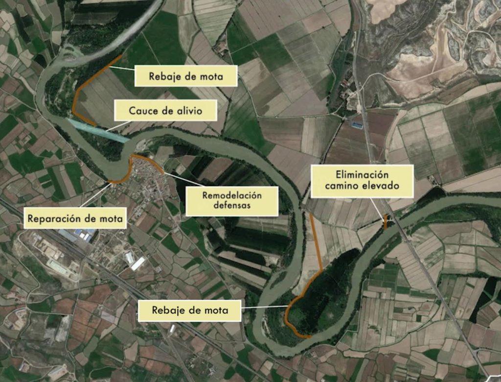 Figura 4. Actuaciones realizadas tras las avenidas de 2015 (Confederación Hidrográfica del Ebro).