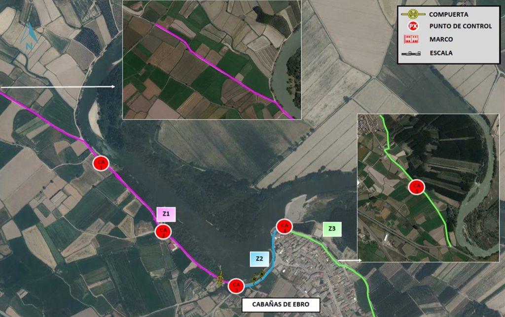 Figura 5. Perímetro de seguridad de Cabañas de Ebro (Confederación Hidrográfica del Ebro).