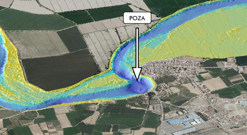 Figura 8. Topografía de lecho del cauce obtenida en la zona junto al núcleo urbano (elaboración propia).