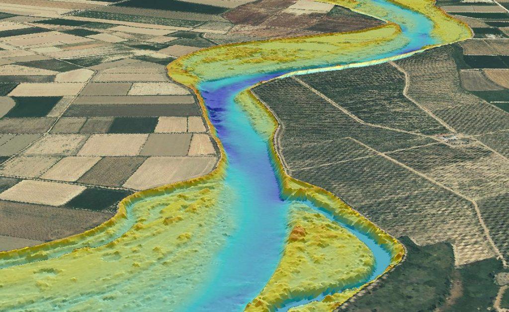 Visualización de la batimetría de alta resolución elaborada para el tramo 12 (elaboración propia)
