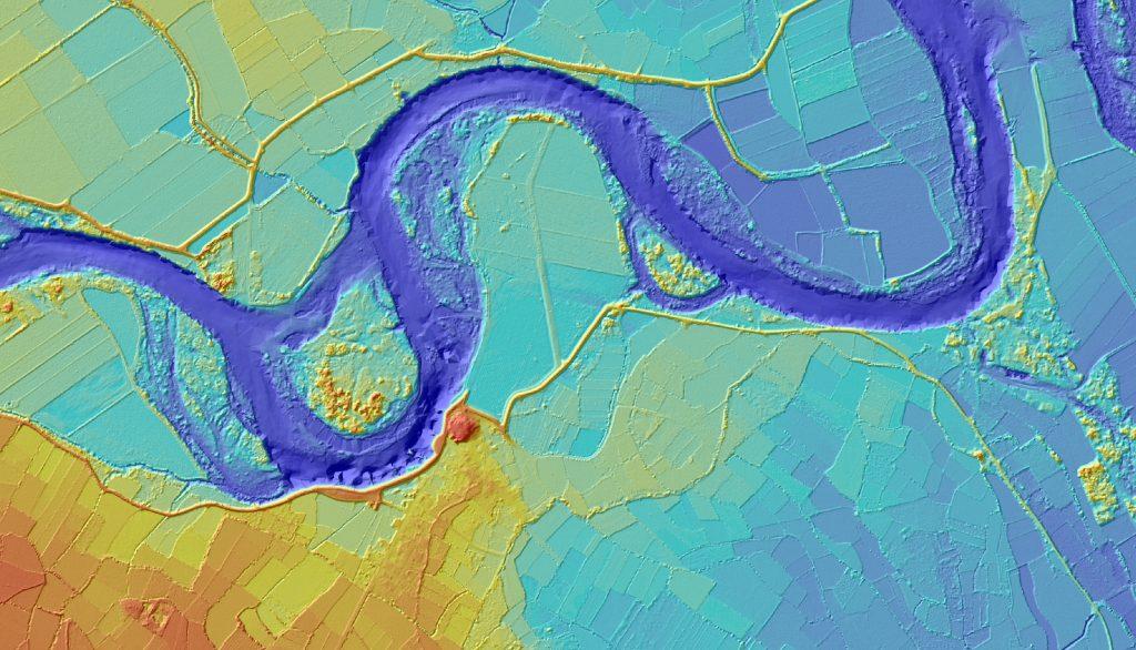 Fragmento del modelo digital del terreno del tramo 7 (elaboración propia)