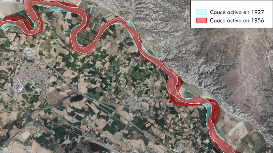 Figura 2. Evolución del cauce del río Ebro entre 1927 y la actualidad (elaboración propia).