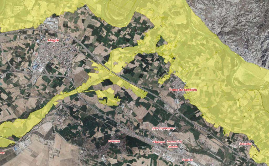 Figura 4. Inundación para una avenida de periodo de retorno de 500 años. Incluye la inundación procedente del río Jalón (segundo ciclo del Sistema Nacional de Cartografía de Zonas Inundables).