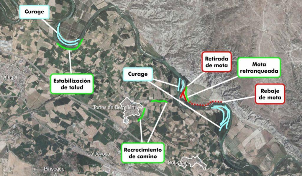 Figura 6. Actuaciones realizadas tras las avenidas de 2015 y 2018 en el entorno de Torres de Berrellén (Confederación Hidrográfica del Ebro).