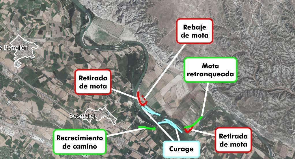 Figura 8. Actuaciones realizadas tras las avenidas de 2015 y 2018 en el entorno de Sobradiel (Confederación Hidrográfica del Ebro).