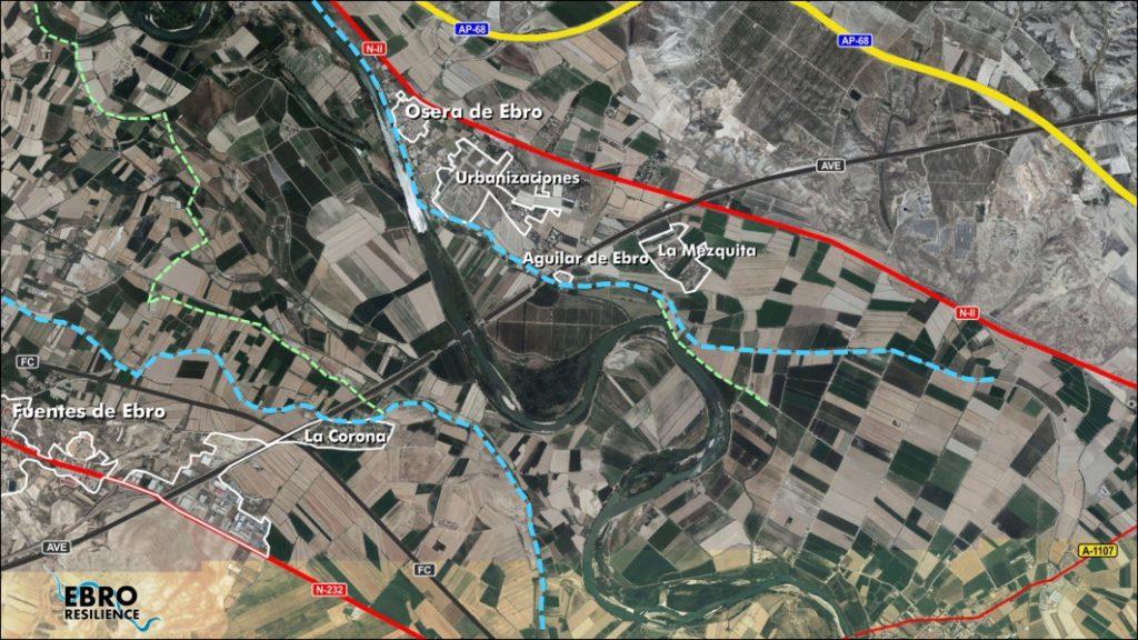 Figura 1. Tramo de estudio. Señalados en azul y verde los límites de las diferentes terrazas fluviales (elaboración propia).