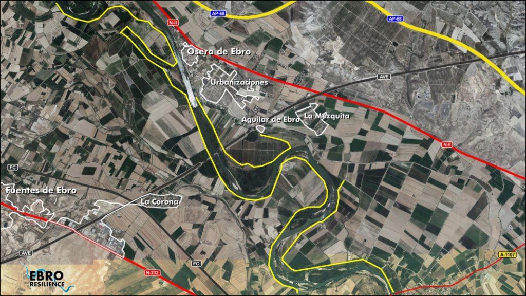 Figura 2. Tramo de estudio. Señalados en amarillo los diques longitudinales que delimitan la canalización (elaboración propia).