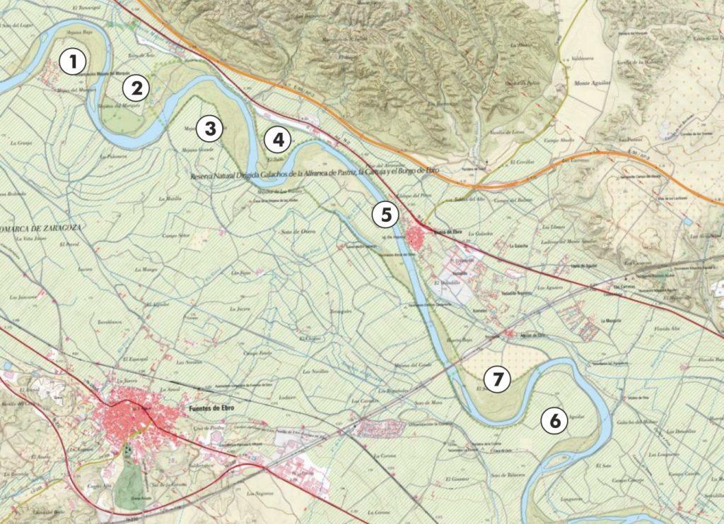 Figura 4. Curso del río Ebro en el tramo de estudio (elaboración propia).