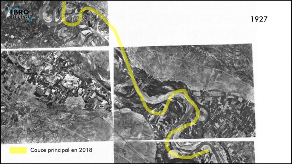Figura 5a. Comparativa de la evolución del cauce del río Ebro en 1927 y la actualidad (elaboración propia).