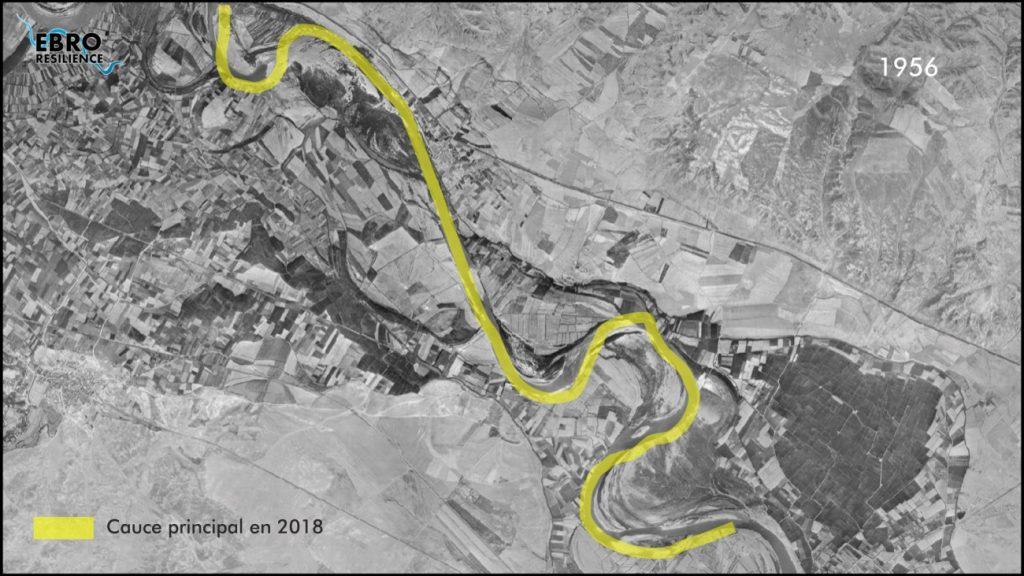 Figura 5b. Comparativa de la evolución del cauce del río Ebro en 1956 y la actualidad (elaboración propia).