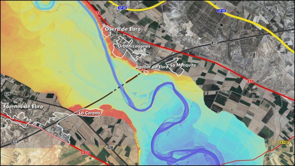 Figura 13. Fragmento del modelo digital del terreno. Colores rojizos indican las zonas más elevadas y los tonos azules las zonas más profundas (elaboración propia).