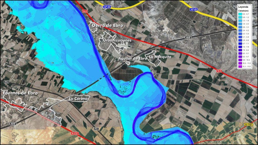 Figura 16b. Resultados para la avenida de periodo de retorno de 10 años con una retirada total de los diques de defensa en margen derecha (elaboración propia).